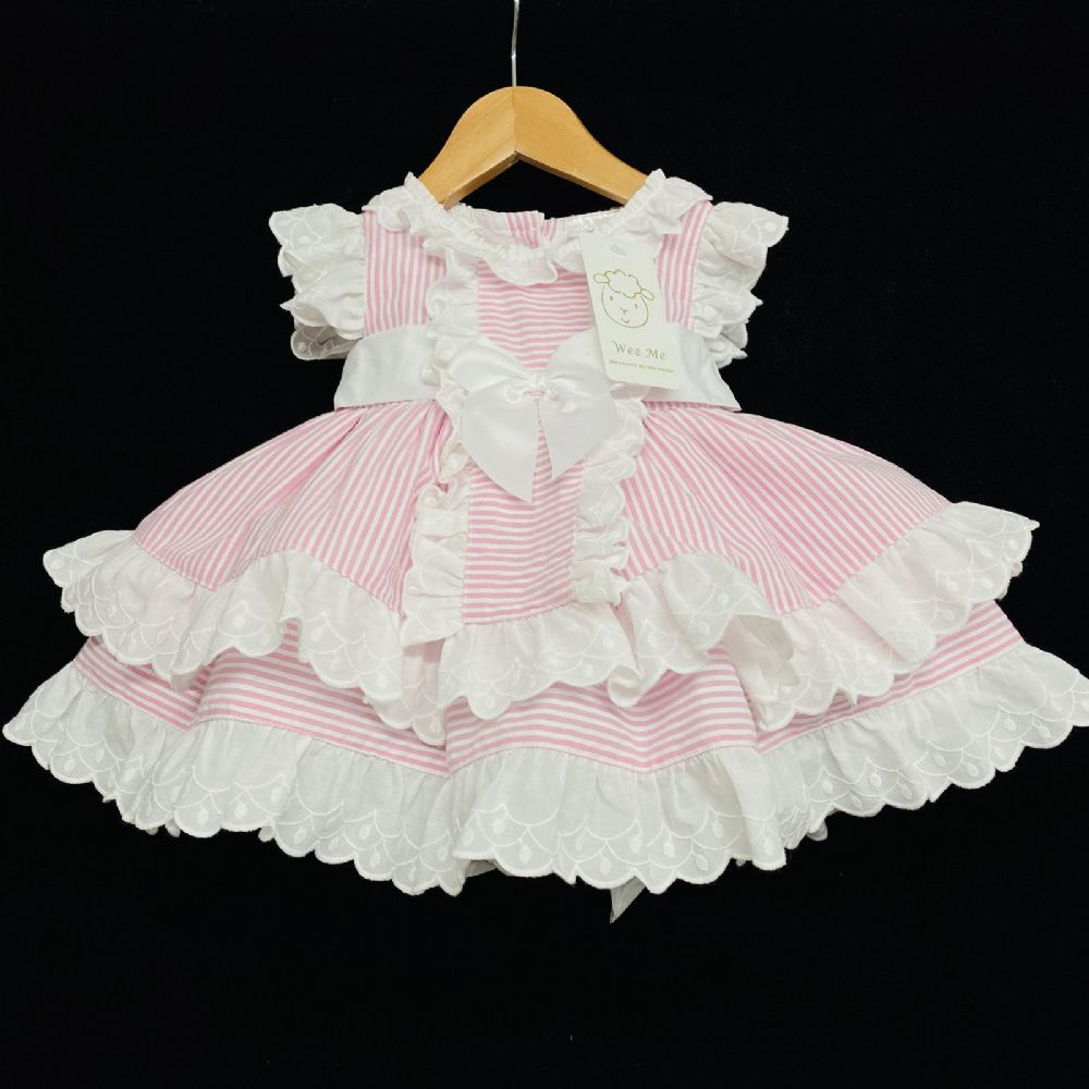 New Baby Girl Pink Candy Stripe Puff Ball Dress